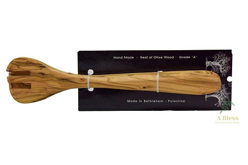 Two Olive Wood Cooking Utensils (Fork & Spoon)