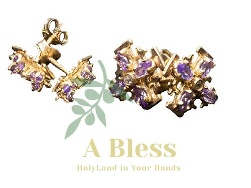 Jerusalem Cross Earrings  with Amethyst and White  Cubic Zirconia