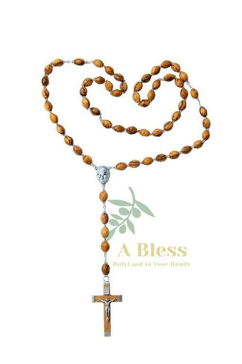 Olive Wood Rosary Carved Beads With Jerusalem Soil & Metal Cross