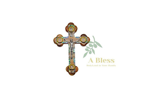 Olive Wood Mother of Pearl Cross with (4) Holy Incense