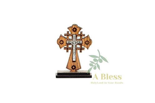 Olive Wood Jerusalem Cross on a Stand