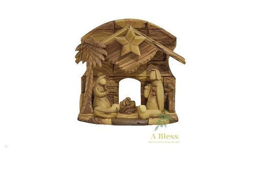 Olive Wood Musical Nativity Crib Hosh