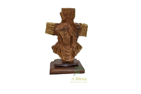 Olive Wood Jesus Head with Cross