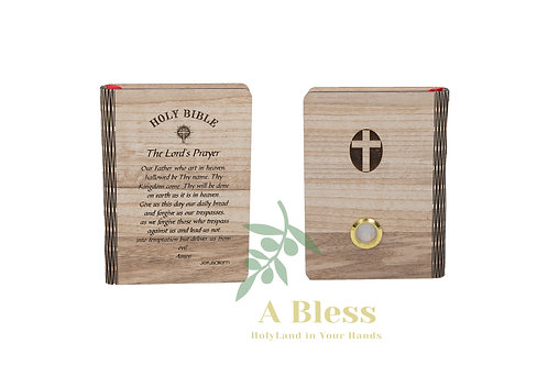 Small Bible with Wooden Cover carved on it the Lord's Prayer
