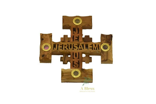 Olive Wood Jerusalem Cross with 4 Holy Items, Jerusalem, Jesus