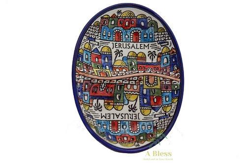 Ceramic Serving Dish (2 sections) - Jerusalem