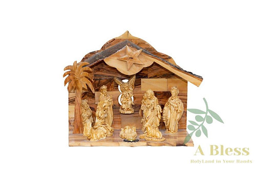 Olive Wood Christmas Nativity Scene with Holy Incense
