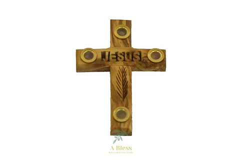 Olive Wood Jesus Cross with Holy Items
