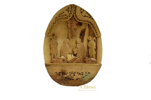 Hand Carved Olive Wood Nativity Scene  (Oval Shape)