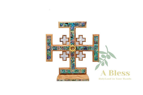 Olive Wood Mother of Pearl Jerusalem Cross with Holy Incense on a Stand