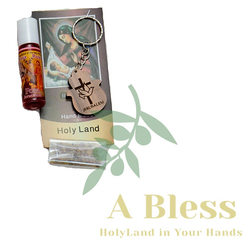 Wood Cross & pigeon Key Chain with Anointing Oil & Frankincense