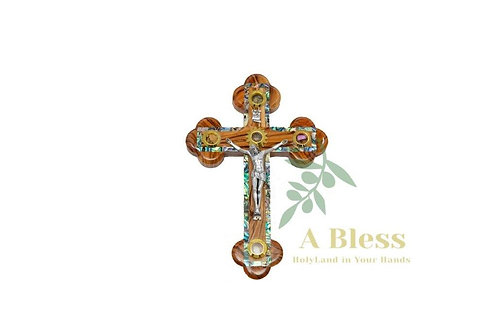 Olive Wood Mother of Pearl Cross with (5) Holy Incense