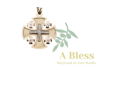 Jerusalem Cross with Small Diamond Cross in the Middle - Pendant