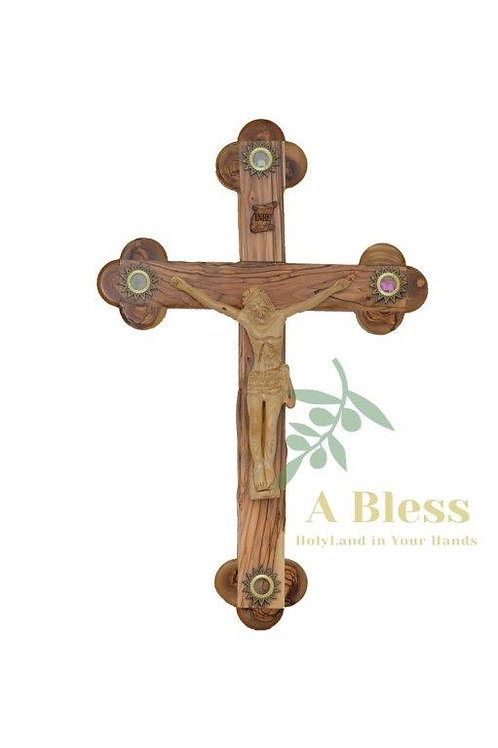 Olive Wood INRI Crucifix with (4) Holy Incense