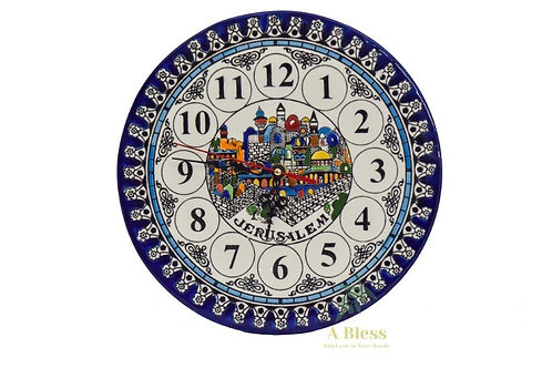 Ceramic Plate Clock - Jerusalem