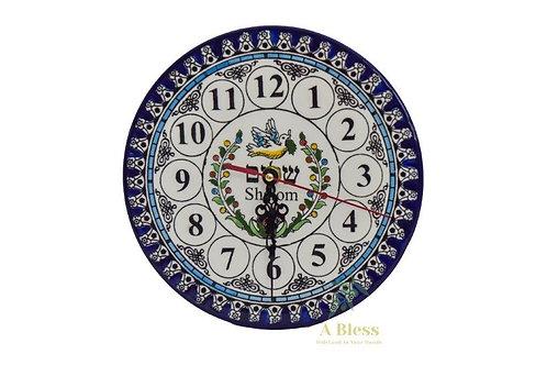 Ceramic Plate Clock - Shalom