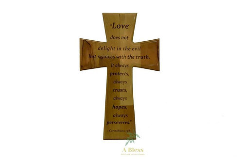 Olive Wood Cross Bible Verse (1 Corinthians 13:8)