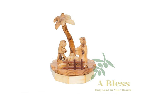 Musical Hand Carved Olive Wood Nativity Scene with a Music Box