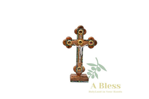 Olive Wood Mother of Pearl Cross with (5) Holy Incense on a Stand