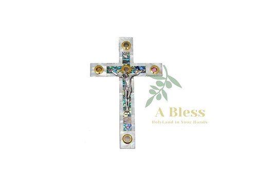 White Mother of Pearl Cross with (5) Holy Incense