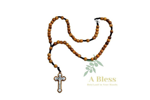 Olive Wood Rosary with Metal Cross
