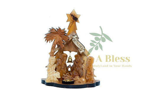 Olive Wood Nativity Set with Holy Incense