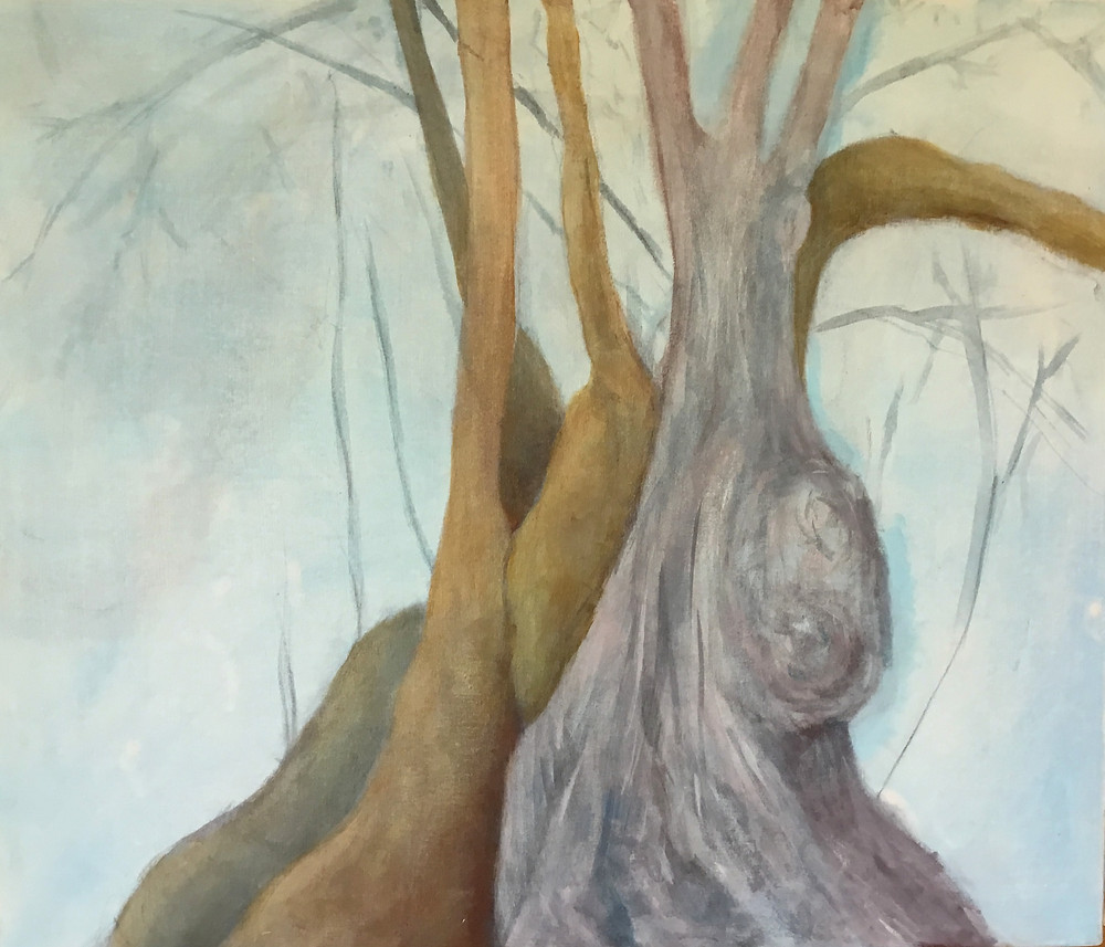 Embryonic artwork showing painting of an old olive tree, with large, bulbous elements and broad sweeping reaches downwards to the earth  There are several bigger branches reaching vertically up to the sky, one large branch leaning off to the right of the image, and many wispy branches populating the sky area of the painting. Colours are grey, pale purple, khaki, grey-green, pale cyan and dark grey. It is an unfinished painting showing the artist's process.
