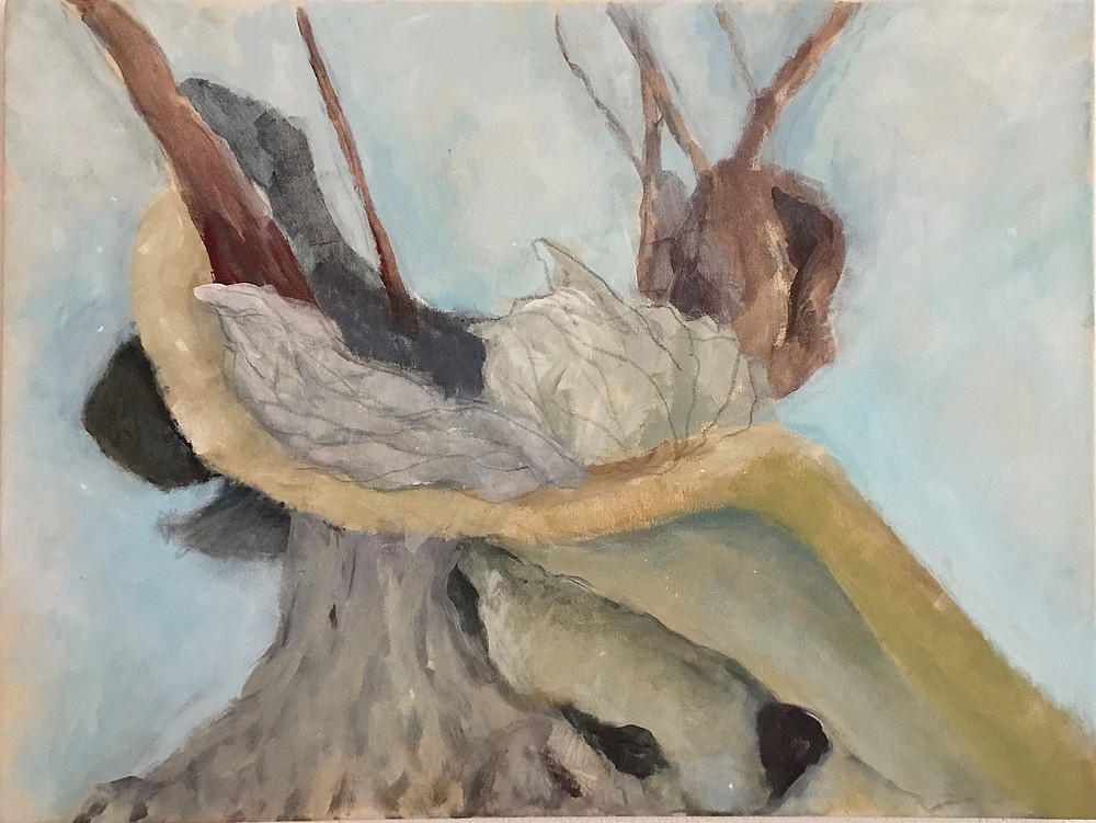 A partially finished painting of a tree showing gnarled and knotted branches, twisting limbs and labyrinthine roots. There are broken, shadowy chunks and brown, reaching branches. There are secret dark recesses under leaning elements.