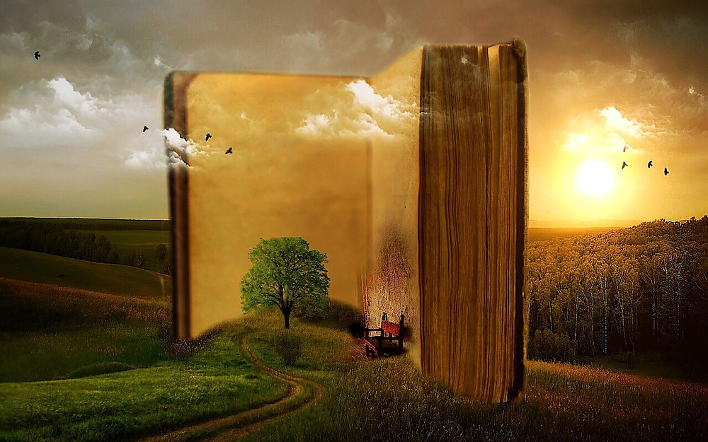 A surrealistic image of an imaginary oversized open book standing like a monolith in the middle of an idyllic landscape of rolling hills. Sunset. Warm yellow glow over everything. A tree on a small mound stands directly in front of the book. Is it part of the landscape or part of the book. A comfortable chair set close to the other page looks invites the reader to sit and enjoy.