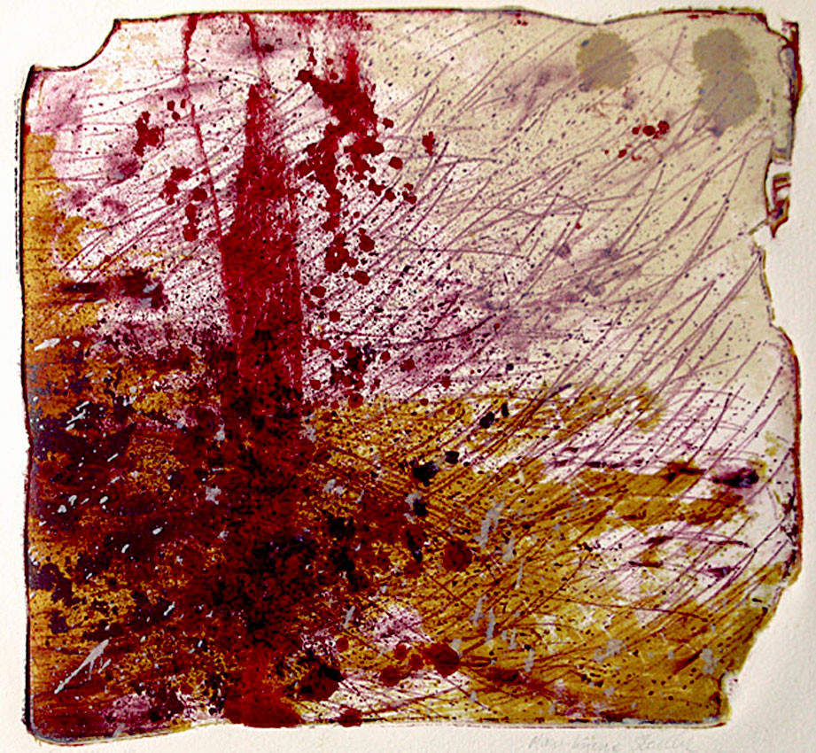 A detailed abstract in reds, magentas and yellow ochres, featuring delicate lines sweeping diagonally across the image, as of seeds being carried by the wind, and heavier patches suggesting fallen leaves or stones. A strong red monolithic column stands slightly left of centre. The broken edge of the original lithographic stone is clearly visible around the image.