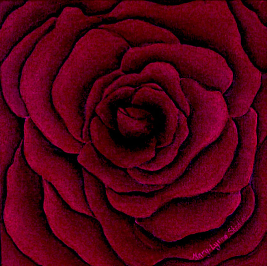 Painting of a deep red rose, in close up, showing the overlap of each petal with each other petal, and a seductive looking heart in the centre.