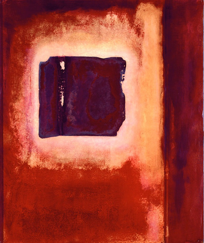 An abstract in reds, showing a dark four-sided entity with chipped and broken edges hovering in a pale space, like a halo around it, that is surrounded by ever darkening reds. On the right of the image is a broad horizontal band of maroon red