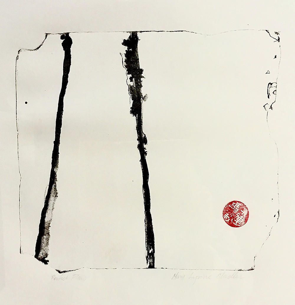 Depicted in black and white, we see a thin broken line defining an almost square shape. There are broken and chipped nuances in the defining line. in the left half of the quadrant are two stronger black lines, calligraphic in quality, that rise vertically and seem to be moving to meet one another. The artist's red chop is in the lower right corner