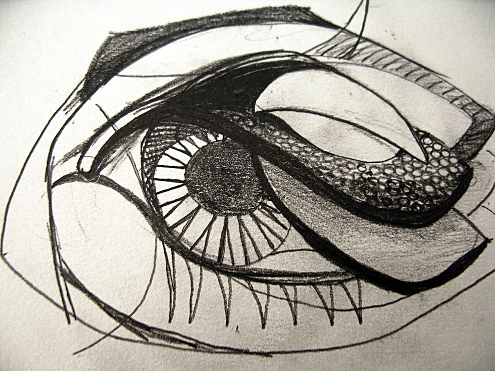 A black and white drawing showing a schematic eye with a strange and textures 'hood' falling over its outer corner, giving it a disturbing and slightly animalistic appearance.