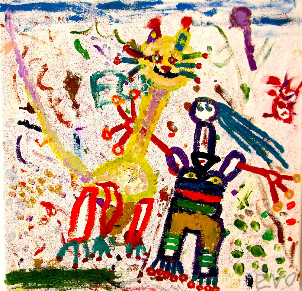 'Me and my Cat,' another young child's painting about the art of giving