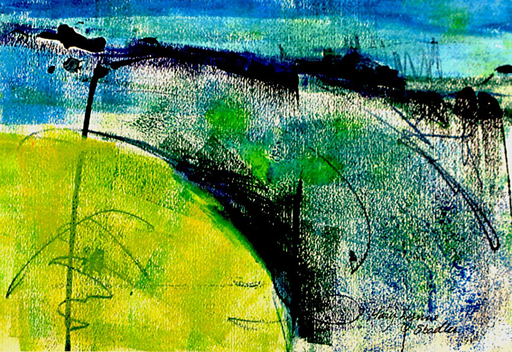 Small abstract landscape in lime green, cyan, ultramarine. The surface is richly textured, and divided into sections by a series of broken black lines and marks. Oil-based ink on paper. Framed with a white matte mount and narrow black wooden frame.