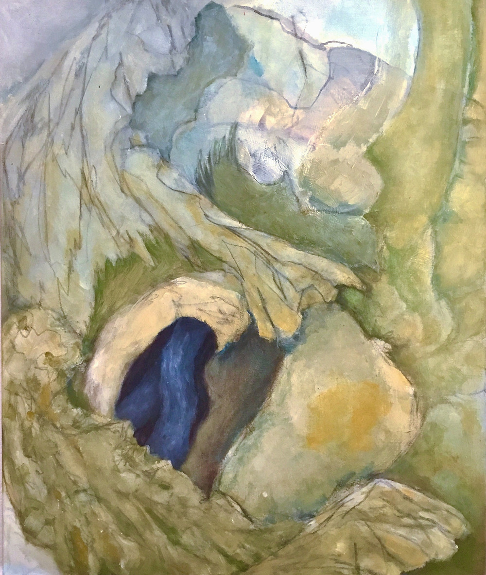 A painting that could be of a tree's rough and twisting branches or could represent a distant, mystical, fairy-tale land. The colours are mutes khaki, yellow ochre, cyan, green, dark blue, white, pale purple. A cascading 'arm' extends down from the upper right corner to the centre of the image, and appears to grasp an amorphous, rounded object. Just beneath this arm is a dark hollow in shades of blue, which is partially obscured by a very rough arm and apparently grasping hand that extends from the mid left of the image down to the lower right corner.