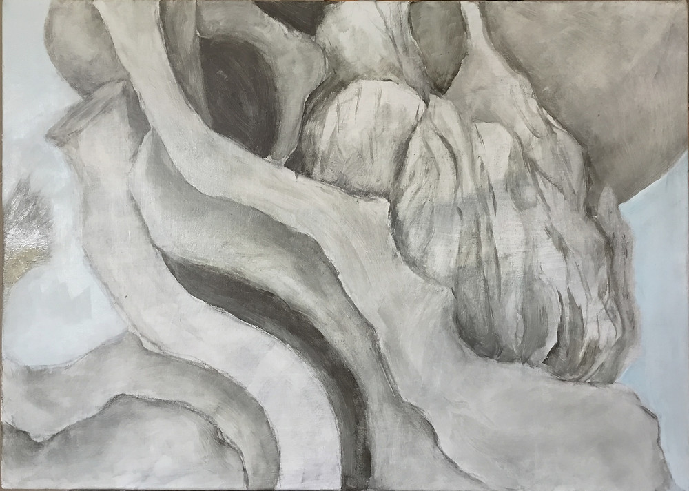 A black and white painting showing a series of twisted branches intricately interlocked with one another, dominated by one strong limb that extends from the top left corner of the horizontal canvas towards the bottom right. The here are also several bulbous elements to the image, one of which is heavily contoured.