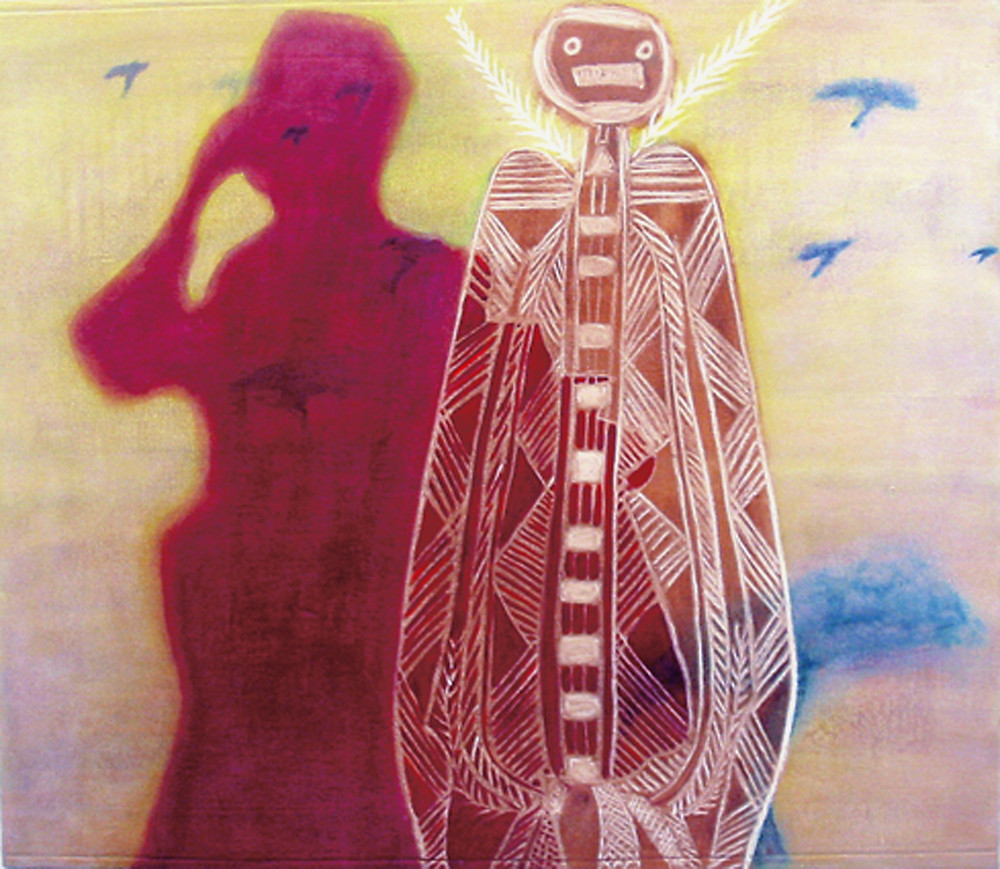 Two figures occupy the main part of the picture plain. One is depicted as a deep magenta shadow that holds a hand up to its eyes, the other is a skeletal figure, picked out in white, derived from aboriginal paintings. The background is largely pale yellow in the top part and pale purple at the bottom. There are undistinguishable blue-green shapes in varying sizes dotted around on the background layer, that depict the acacia trees of the East African savannah.