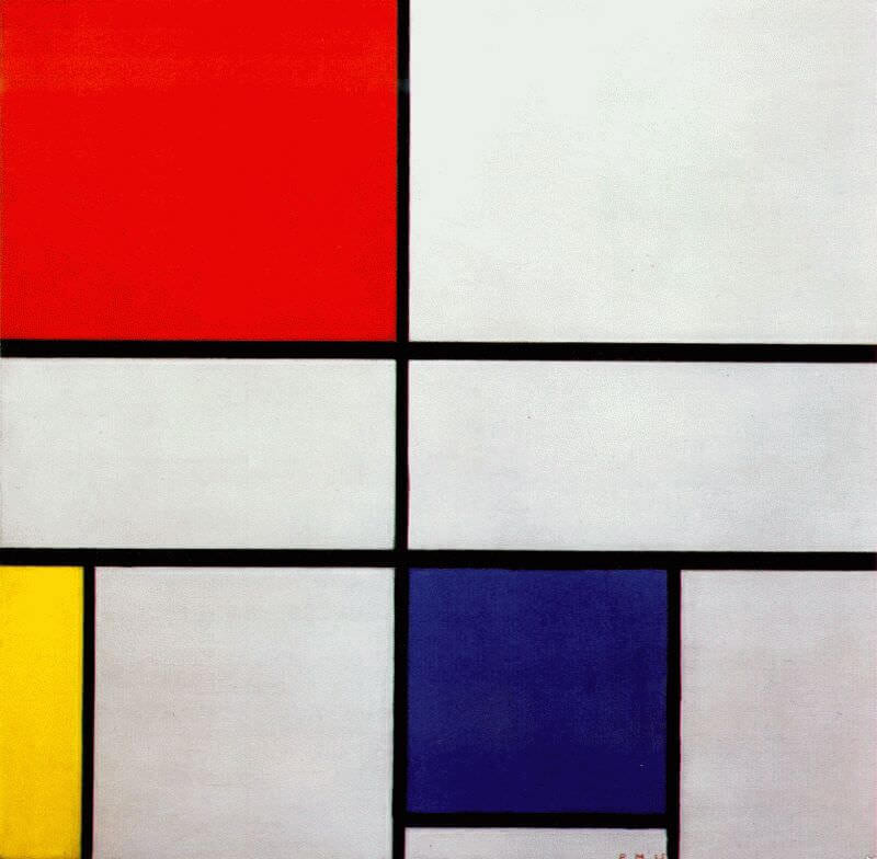 One of the many, apparently simple grid paintings that Piet Mondrian, featuring a series of black lines on a pure white canvas that created boxes of various sizes, which he subsequently filled with primary colours of red, yellow and blue.