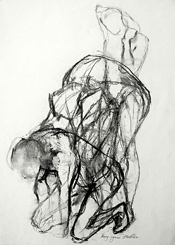 A black and white charcoal line drawing of a figure moving through a series of poses, from upright to crouching.