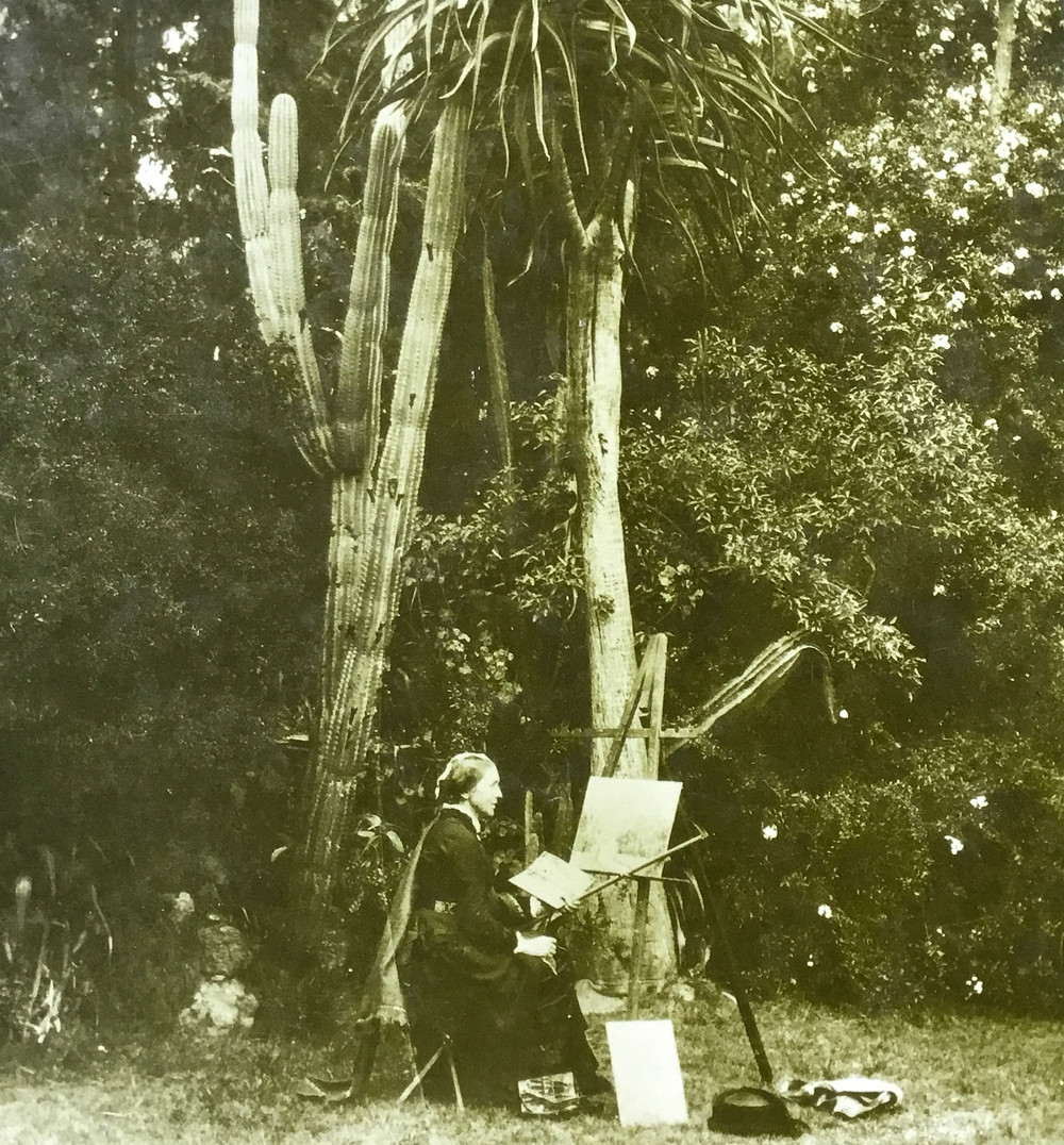 An early photograph showing the artist Marianne North, fully dressed in long, heavy Victorian ladies' wear, with mahlstick in hand, sitting at her easel in a tropical garden under a massive cactus plant