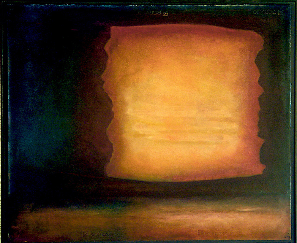 A glowing amorphous object, yellow and orange, floats through a dark umber field, casting a reflected glow onto a horizontal plane below. There is a sense of renewal, and regeneration.