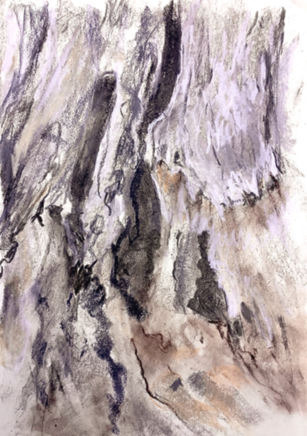 A chalk pastel and charcoal sketch of the rotten wood at the base of an ancient olive tree. Features broken lines in greys and blacks to depict rough textures and damage, yellow ochres and greys to pick out the varying colours of the old wood.
