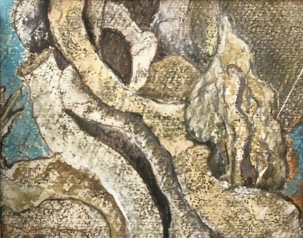 An abstract drawing showing twisted and contorted shapes that could be branches reaching diagonally across the image, from upper left to lower right. There are also a couple of bulbous elements. There is a touch of blue on the left side of the image, but for the most part the drawing is rendered in muted yellow ochre and tones of grey.
