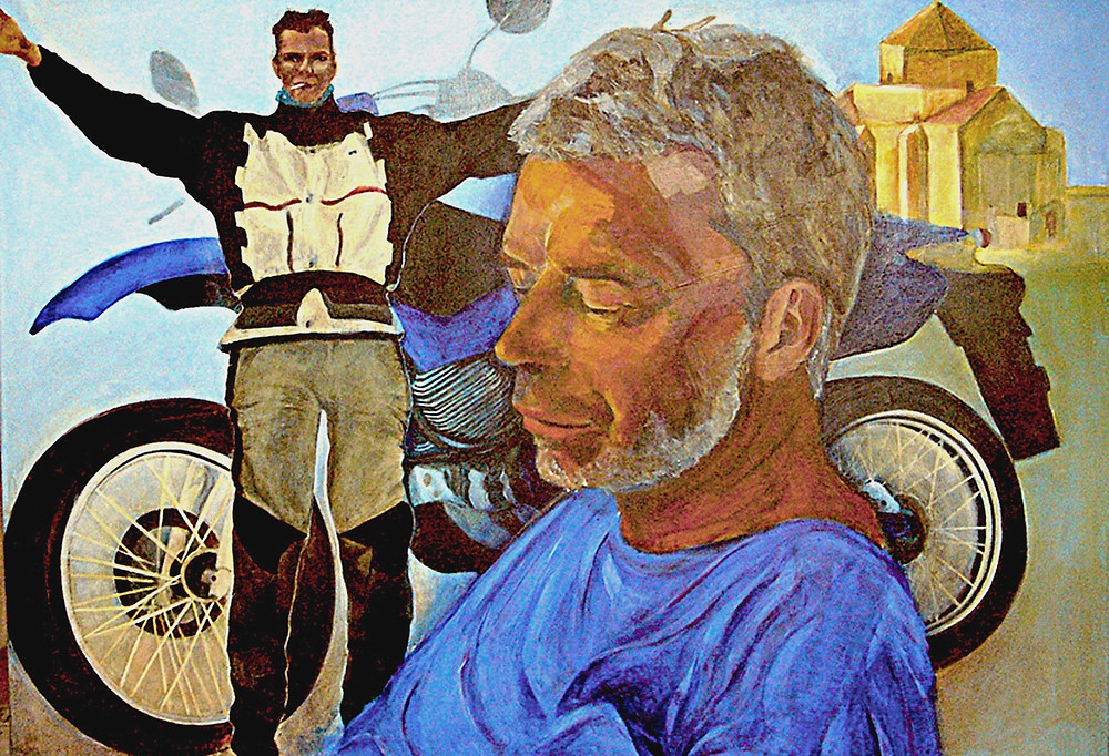 A complex portrait of a motorcycle aficionado. The protagonist is portrayed large in the foreground. He wears a blue T-shirt and is looking downwards, pensively. Behind him are three other elements of the portrait:an image of him wearing hes usual biking jacket, with arms out stretched and a cigarette in the corner of his mount; his beloved motorcycle and a favourite haunt of his in Cyprus, where he frequently motorcycles - an abandoned old orthodox monastery called Sinti.