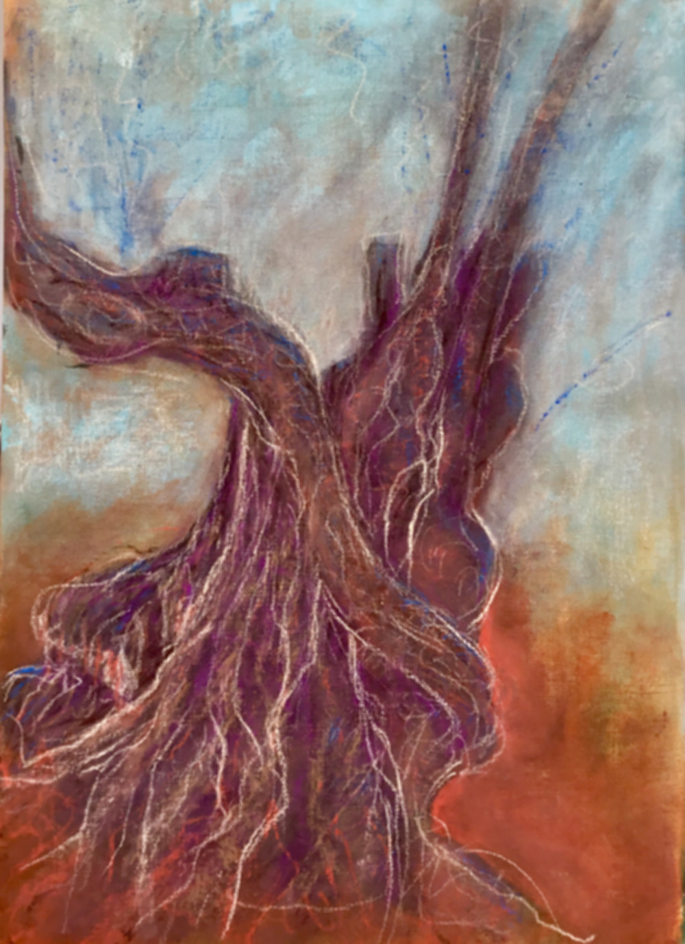 An ancient tree with twisted roots and broken branches stands in a land of red earth and reaches branches to a mottled cyan-coloured sky. Broken white lines creep around the tree trunk like veins.