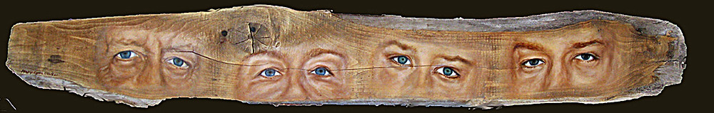 A family portrait. A horizontal piece of driftwood onto which the artists has portrayed the four members of a family by focussing only on their eyes. Each pair of eyes tells of the sitter's unique personality and experiences. Brown, blue, green, flesh tones, eyebrows, eyes, character.