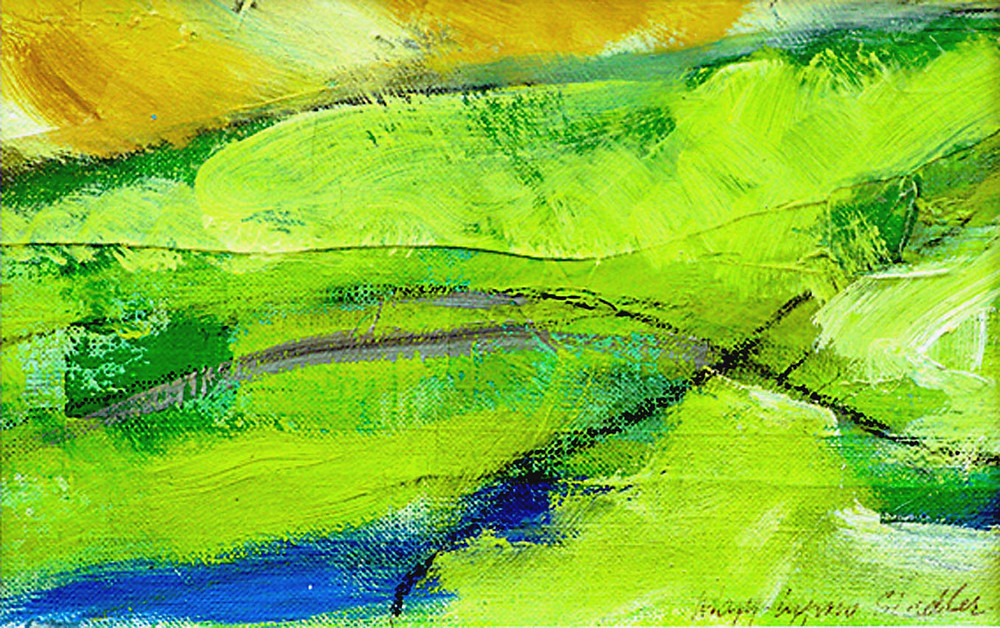 Small abstract landscape. A large swathe of greens sweeps diagonally across the main part of the picture plane, from lower left to upper right. A small area of yellow ochre hues occupies the upper left, and a small patch of cobalt blue the lower left. The paint has been applied loosely and creates a textured surface. Oil and charcoal on linen. Framed with a white matte mount and narrow deep umber wooden frame.