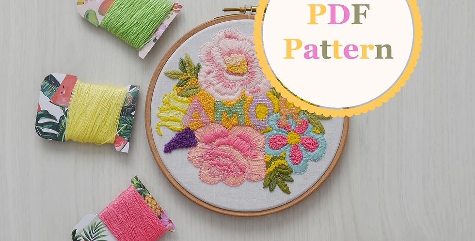 Amor Hand Embroidery PDF Pattern